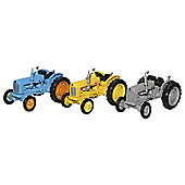 Oxford 1:76 Triple Tractor Set, Blue/Yellow/Grey