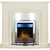 Adam Falmouth Fireplace Suite in Stone Effect with Eclipse Electric Fire in Chrome