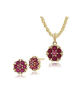 Gemondo 9ct Yellow Gold Floral Ruby, Pink Tourmaline & Diamond Stud Earrings & 45cm Necklace Set