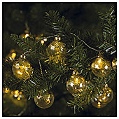 TESCO 30 GOLD SEQUIN BALL LIGHTS