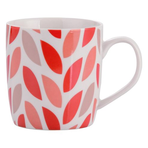 Tesco Single Porcelain Leaf Mug, Red