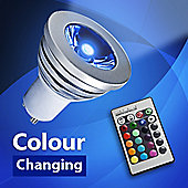 MiniSun 3W Colour Changing Remote Control LED GU10 Light Bulb