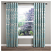 "Monaco Lined Eyelet Curtains W117xL137cm (46x54"") - Duck Egg - Duck egg"