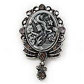 Dim Grey Crystal Cameo 'Regal Lady' Brooch In Antique Silver Plating