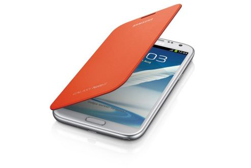 Samsung Original Clip-On-Replacement Battery Cover with Leather Feel Flip Case Galaxy Note 2/II - Orange