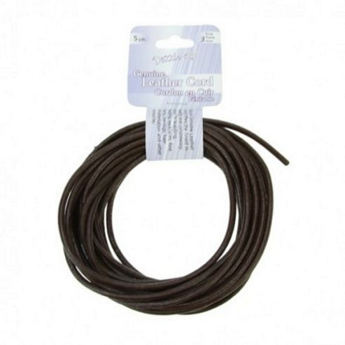 Leather Cord 3mm Round Brown 5yds