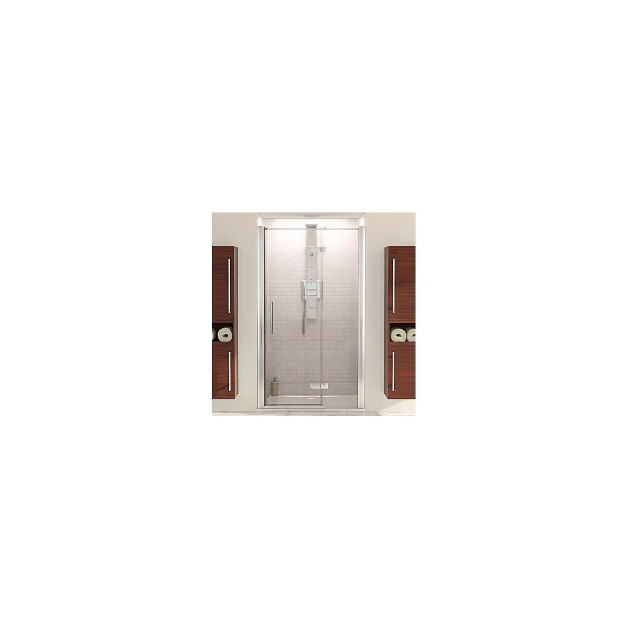 Aqualux AQUA8 Hinge Pivot Shower Door with Inline Panel, 1200mm Wide, Polished Silver Frame, 8mm Glass at Tesco Direct