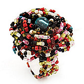 Large Multicoloured Glass Bead Flower Stretch Ring (Olive, Black, Coral & Transparent)