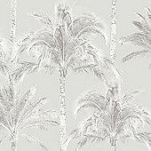 Miami Palm Trees Wallpaper - Grey - FD40904 Fine Decor