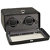 Wolf Designs Double Watch Winder with Cover - Black