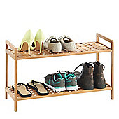 VonHaus 2-Tier Slimline Bamboo Shoe Rack/Shelf Organiser
