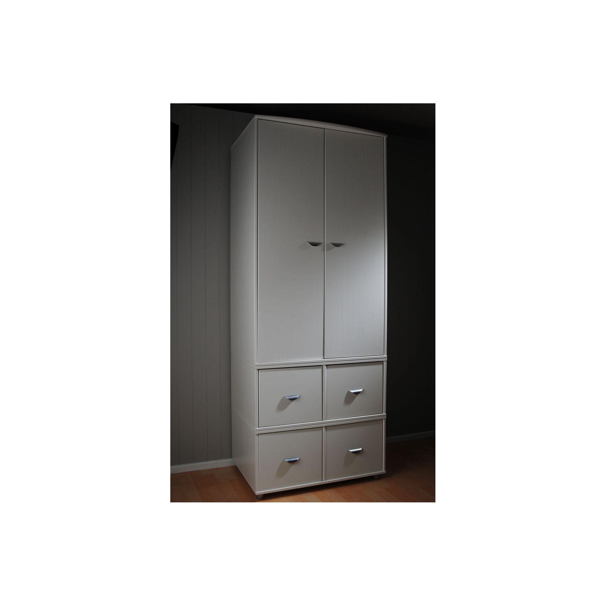Stompa 2 Door 4 Drawer Wardrobe - White - Lilac at Tesco Direct