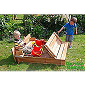 Square Wooden Sandpit with Fold-Out Lid Seating