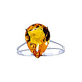 QP Jewellers 5.0ct Citrine Pear Drop Ring in 14K White Gold