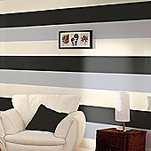 Stripe Wallpaper - Black / Silver / Cream - E40909