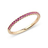 Jewelco London 18ct Rose Gold - Pink Sapphire Claw-set - Half Eternity Ring - Size J