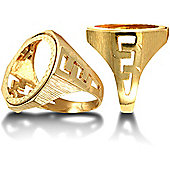 9ct Solid Gold Half Sovereign hexagonal top coin mount Ring with cub link design shoulders