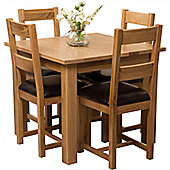 Oslo Solid Oak Square 90 cm Dining Table with 4 Lincoln Chunky Oak Dining chairs