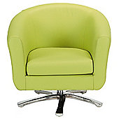 Swivel Leather Effect Tub Chair Lime Green.