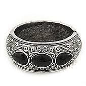 Burn Silver Effect Black Ceramic Stone Hammered Hinged Bangle - up to 19cm wrist