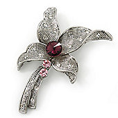 Vintage Inspired Textured Diamante Flower Brooch In Antique Silver Tone - 55mm Length
