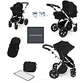 ickle bubba Stomp V2 AIO/Buggy Lights/Mosquito Net Travel System - Black (Silver Chassis)