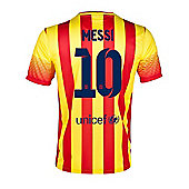 2013-14 Barcelona Away Shirt (Messi 10) - Kids - Red