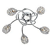 Modernistic Classy Polished Chrome Semi Flush Ceiling Light with 5 Arms and Metal Shades