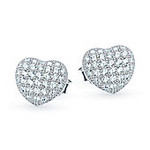 The REAL Effect Rhodium Coated Sterling Silver Cubic Zirconia Heart Cushion Stud Earrings