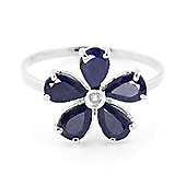 QP Jewellers Diamond & Sapphire Foliole Ring in 14K White Gold