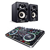 Numark Mixtrack Quad & Alesis Elevate 5 Studio Monitor Bundle