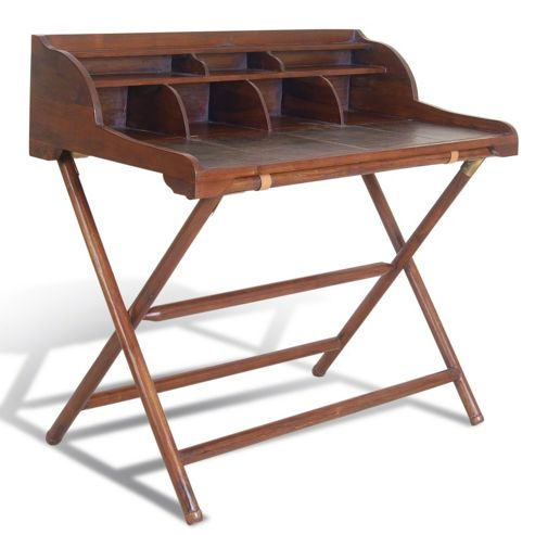 Oceans Apart Campaign Teak and Leather Writing Desk with Rack