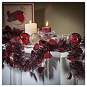 Festive Die Cut Heart Tinsel, Black & Red, 2m X 100mm