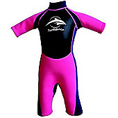 Konfidence Girls Shorty Wetsuit Navy Pink 3 to 4 Years