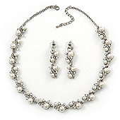 Bridal Pearl/Crystal Necklace & Drop Earring Set In Silver Metal - 44cm Length/5cm Extension