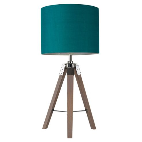 buy marine tripod table lamp base wood chrome teal shade from our table lamps range tesco. Black Bedroom Furniture Sets. Home Design Ideas