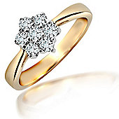 Jewelco London 18 Carat Yellow Gold 50pts Diamond Ring