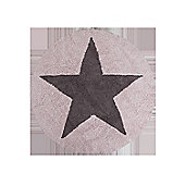 Lorena Canals Reversible Star Pink and Dark Grey Children's Rug - 140 cm W x 140 cm D (4 ft 9 in x 4 ft 9 in)