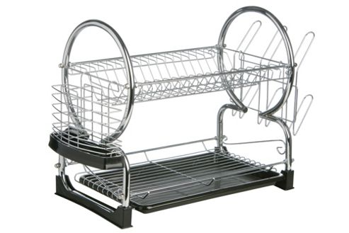 Premier Housewares 56 cm 2 Tier Dish Drainer with Tray - Black
