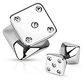 Urban Male Pack of Five Surgical Stainless Steel Square Gem Ear Stretching Flesh Plugs
