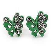 Tiny Green Crystal Enamel 'Butterfly' Stud Earrings In Silver Tone Metal - 10mm Diameter