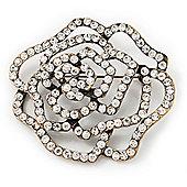 Antique Gold Clear Swarovski Crystal 'Rose' Brooch - 6cm Diameter