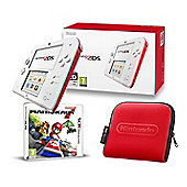 2DS RED AND WHITE (MARIO KART 7 AND CASE)