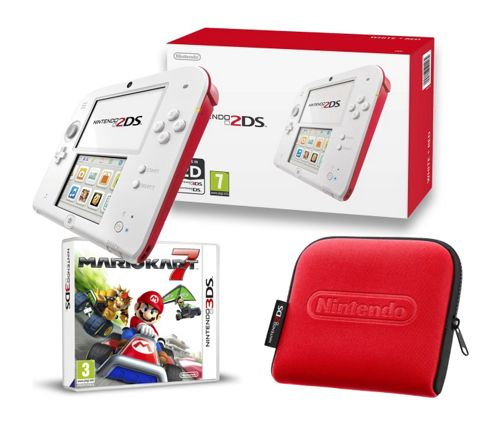 2DS Red & White, Mario Kart 7 and Case