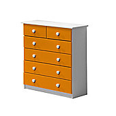 4 + 2 Chest of Drawers in White and Orange