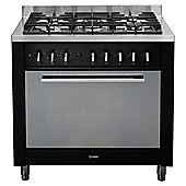 Indesit KP9F11S(K)/GS, Black, Gas Cooker, Single Oven, 90cm