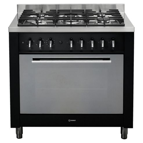 Indesit KP9F11S(K)/GS Black Gas Cooker, Single Oven