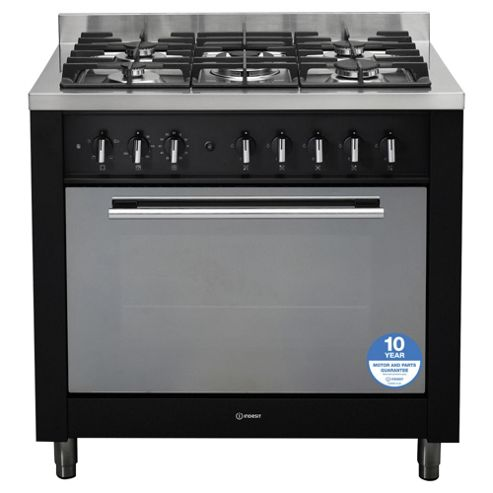 Indesit KP9F11SK/GS, Freestanding, Gas Cooker, 90cm, Black, Single Cavity, Single Oven
