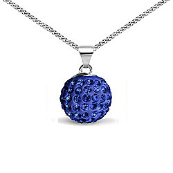 Jewelco London Sterling Silver Crystal Royal Blue Solitaire 12mm Pendant - 18 inch Chain