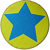 Circular Star Mat - Lime Green and Blue 67 x 60 cm